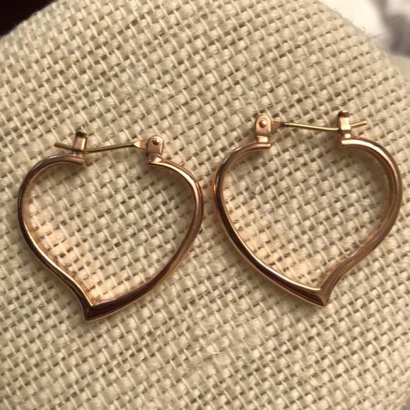Rose gold  heart hoop earrings